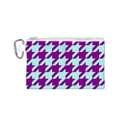 Houndstooth 2 Purple Canvas Cosmetic Bag (S)