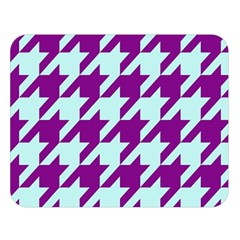 Houndstooth 2 Purple Double Sided Flano Blanket (Large)