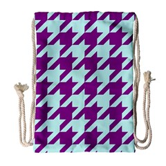 Houndstooth 2 Purple Drawstring Bag (Large)