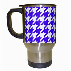 Houndstooth Blue Travel Mugs (White)