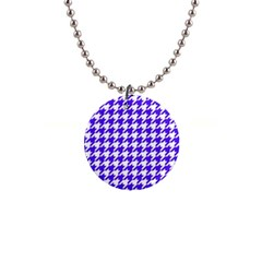 Houndstooth Blue Button Necklaces