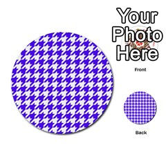 Houndstooth Blue Multi-purpose Cards (Round)