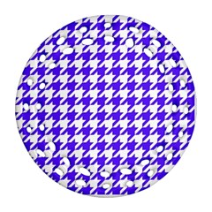 Houndstooth Blue Round Filigree Ornament (2Side)