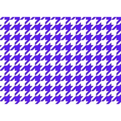 Houndstooth Blue Birthday Cake 3D Greeting Card (7x5)