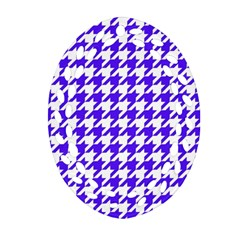 Houndstooth Blue Ornament (oval Filigree)