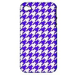 Houndstooth Blue Apple iPhone 4/4S Hardshell Case (PC+Silicone)