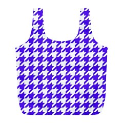 Houndstooth Blue Full Print Recycle Bags (L)
