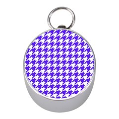 Houndstooth Blue Mini Silver Compasses