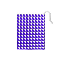 Houndstooth Blue Drawstring Pouches (Small)