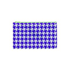 Houndstooth Blue Cosmetic Bag (xs)