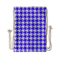 Houndstooth Blue Drawstring Bag (small)