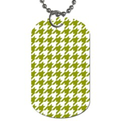 Houndstooth Green Dog Tag (One Side)