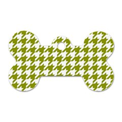 Houndstooth Green Dog Tag Bone (One Side)