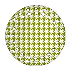 Houndstooth Green Ornament (round Filigree)