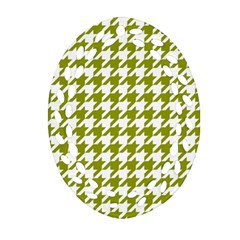 Houndstooth Green Oval Filigree Ornament (2 Side)