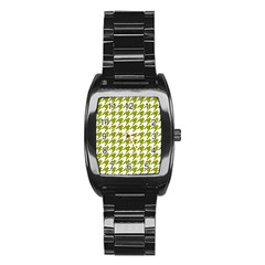 Houndstooth Green Stainless Steel Barrel Watch