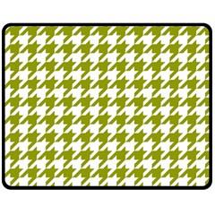 Houndstooth Green Double Sided Fleece Blanket (medium)