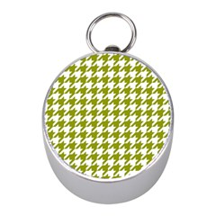 Houndstooth Green Mini Silver Compasses