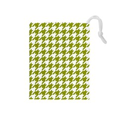 Houndstooth Green Drawstring Pouches (Medium)
