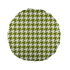 Houndstooth Green Standard 15  Premium Flano Round Cushions