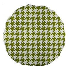 Houndstooth Green Large 18  Premium Flano Round Cushions