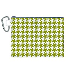 Houndstooth Green Canvas Cosmetic Bag (XL)