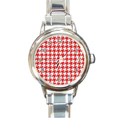 Houndstooth Red Round Italian Charm Watches