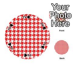 Houndstooth Red Playing Cards 54 (Round)