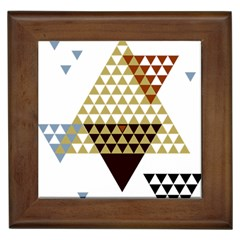 Colorful Modern Geometric Triangles Pattern Framed Tiles