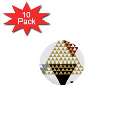 Colorful Modern Geometric Triangles Pattern 1  Mini Buttons (10 pack)
