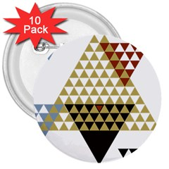 Colorful Modern Geometric Triangles Pattern 3  Buttons (10 pack)