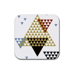 Colorful Modern Geometric Triangles Pattern Rubber Square Coaster (4 pack)
