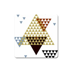 Colorful Modern Geometric Triangles Pattern Square Magnet
