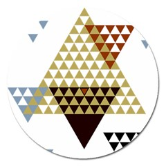 Colorful Modern Geometric Triangles Pattern Magnet 5  (Round)