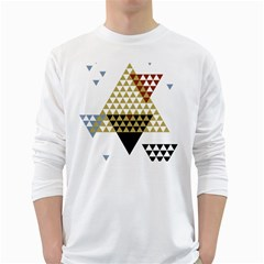 Colorful Modern Geometric Triangles Pattern White Long Sleeve T Shirts