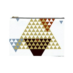Colorful Modern Geometric Triangles Pattern Cosmetic Bag (Large)