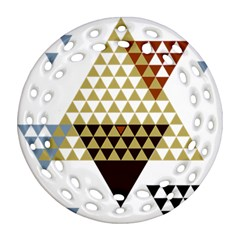 Colorful Modern Geometric Triangles Pattern Round Filigree Ornament (2side)