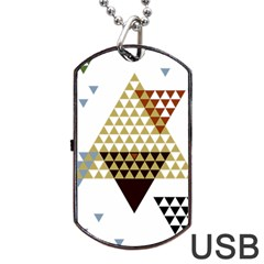Colorful Modern Geometric Triangles Pattern Dog Tag USB Flash (One Side)