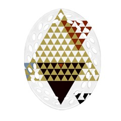 Colorful Modern Geometric Triangles Pattern Oval Filigree Ornament (2 Side)