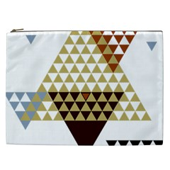 Colorful Modern Geometric Triangles Pattern Cosmetic Bag (XXL)