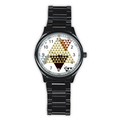 Colorful Modern Geometric Triangles Pattern Stainless Steel Round Watches