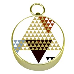 Colorful Modern Geometric Triangles Pattern Gold Compasses