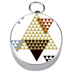 Colorful Modern Geometric Triangles Pattern Silver Compasses