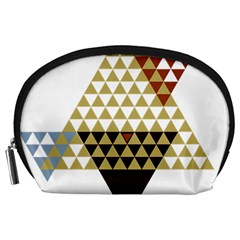 Colorful Modern Geometric Triangles Pattern Accessory Pouches (Large)
