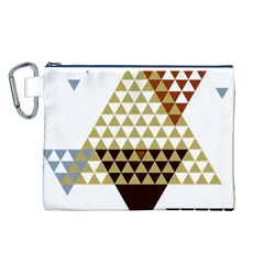 Colorful Modern Geometric Triangles Pattern Canvas Cosmetic Bag (L)