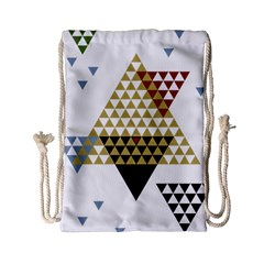 Colorful Modern Geometric Triangles Pattern Drawstring Bag (Small)