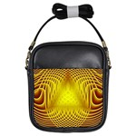Swirling Dreams Yellow Girls Sling Bags Front