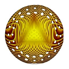 Swirling Dreams Yellow Round Filigree Ornament (2Side)