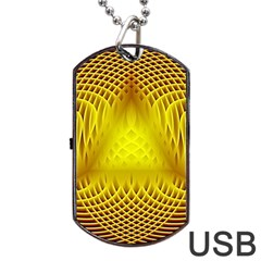 Swirling Dreams Yellow Dog Tag USB Flash (Two Sides)