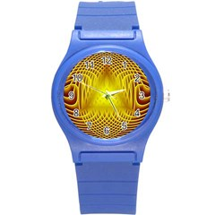 Swirling Dreams Yellow Round Plastic Sport Watch (S)